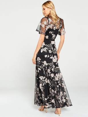Forever Unique U Collection Floral Overlay Maxi Dress - Black