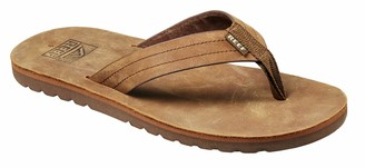 Reef Men's Sandal Voyage Le | Premium Real Leather Flip Flops for Men with Soft Cushion Footbed | Waterproof | Brown/Bronze | Size 7