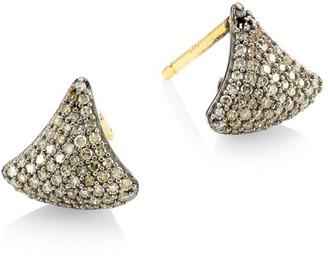 Nina Gilin Black Rhodium-Plated Silver & Diamond Triangular Stud Earrings