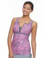 Free Country Women's Printed Quarter-Zip Tankini Top