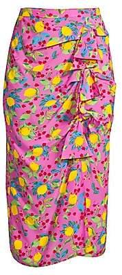 Saloni Women's Kelly Bow-Front Silk Skirt