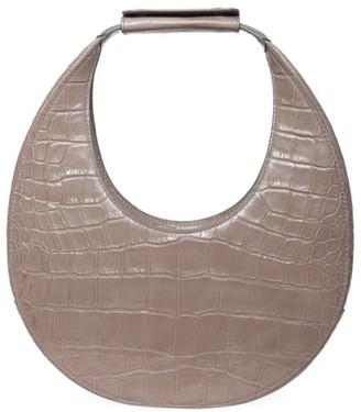 STAUD Moon Croc-Embossed Leather Hobo Bag