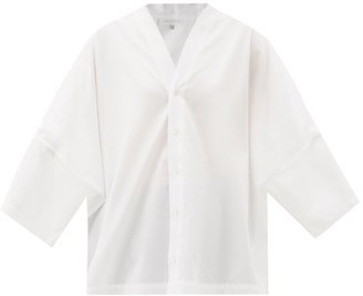 eskandar Batwing-sleeve Cotton-poplin Shirt - White