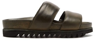 Guidi Ridged-sole Leather Sandals - Dark Green
