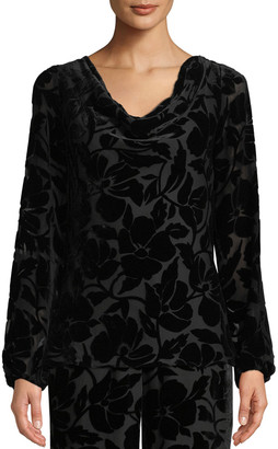 St. John Velvet Burnout Long-Sleeve Blouse
