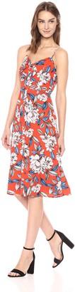 Ali & Jay Women's Button Front Bow TIE Detail Sleeveless Aline MIDI Dress