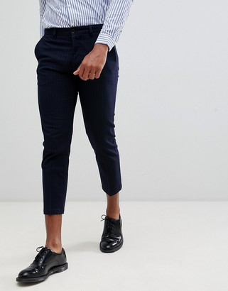 Celio cropped slim fit smart trouser in stripe-Navy