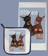 Pipsqueak Productions DP830 Doberman Dish Towel And Pot Holder Set