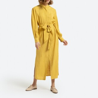 La Redoute Collections Button-Through Maxi Shirt Dress with Long Sleeves and Tie-Waist