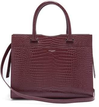 Saint Laurent Uptown Crocodile Effect Leather Tote Bag - Womens - Burgundy