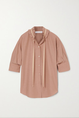 See by Chloe Tie-detailed Ruffled Crepe Blouse - Light brown