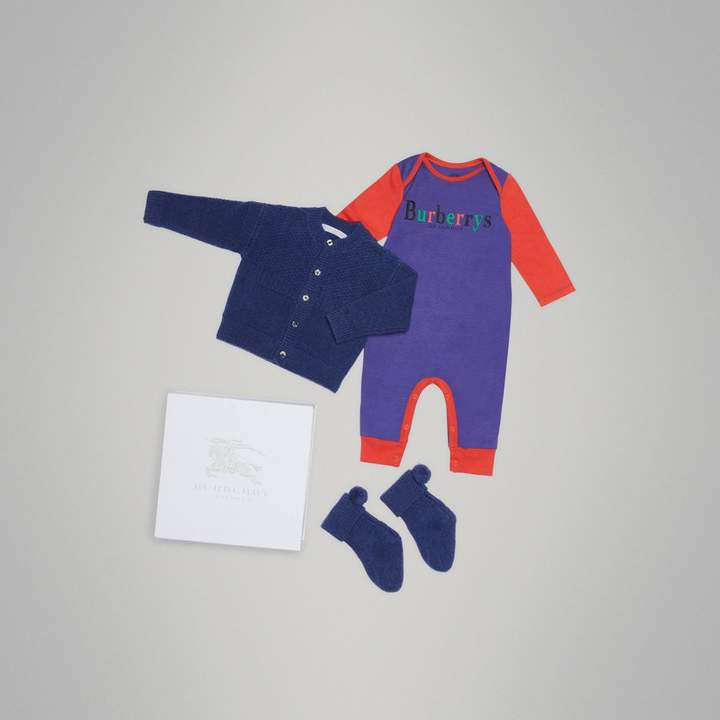 Burberry Childrens Cashmere and Cotton Three-piece Baby Gift Set
