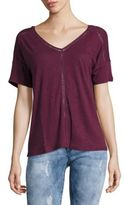 Lord & Taylor Double V-Neck Linen Tee
