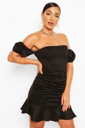 boohoo Off The Shoulder Rouched Frill Hem Mini Dress