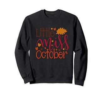 Little Miss October Birthday Autumn Gift Fall Kids Girls Sweatshirt