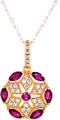 Diana M Fine Jewelry 14K Rose Gold 0.96 Ct. Tw. Diamond & Ruby Necklace