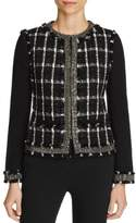 Tory Burch Womens Plaid Jeweled Jacket