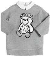 Simonetta Bear Print Cotton Blend Sweatshirt Dress