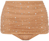 Norma Kamali Bill Ruched Crystal-embellished Stretch-tulle Bikini Briefs - Sand