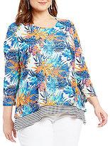Multiples Plus 3/4 Sleeve Print & Stripe Layered Top