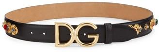 Dolce & Gabbana Logo Leather Embellished Belt