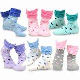 TeeHee Kids Girls Cotton Crew Ruffle Top Socks 6 Pair Pack