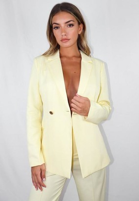 Missguided Lemon Co Ord Skinny Fit Blazer