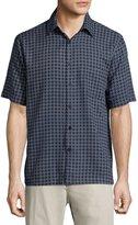 Neiman Marcus Line-Print Short-Sleeve Shirt, Dark Navy