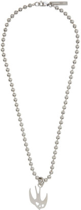 McQ Silver Swallow Skull Necklace