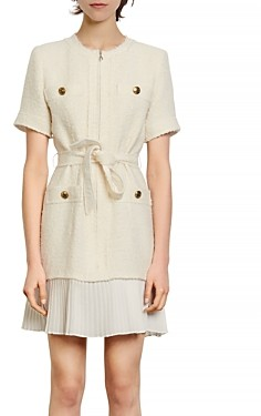 Sandro Joana Belted Pleated Hem Dress