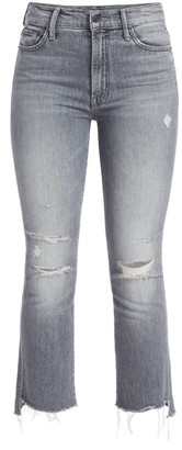 Mother The Insider High-Rise Crop Step Fray Hem Jeans