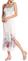 Komarov High Slit Print Maxi Dress