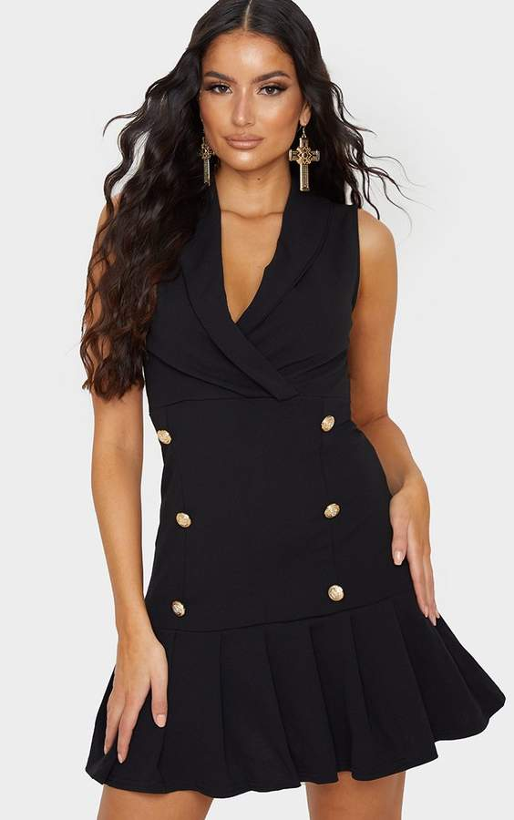 PrettyLittleThing Black Sleeveless Gold Button Frill Detail Blazer Dress