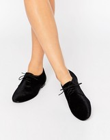 Asos MISSION Velvet Lace Up Flat Shoes