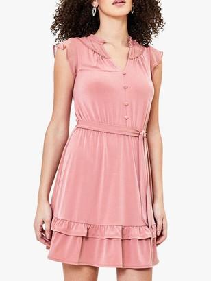Oasis Heart Detail Tie Belt Skater Dress, Mid Pink