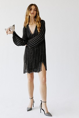 Free People Sparkly Black Magic Mini Dress