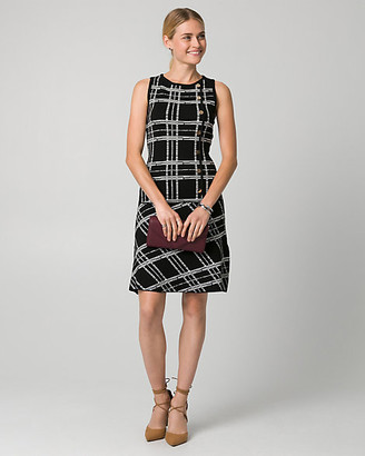 Le Château Check Print Viscose Blend Crew Neck Dress