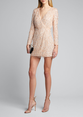 Rachel Gilbert Embellished Long-Sleeve Dress