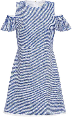 Kate Spade California Dreaming Cold-shoulder Frayed Tweed Mini Dress