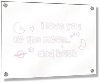 Camilla And Marc Feel Good Art Wall Mounted Acrylic Frame with Stand-Off Bolts (30 x 20 x 0.6 cm, Small, Soft Pink, I Love You to The Moon and Back/Nursery Dècor)