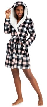 Jenni Hooded Buffalo Check Short Cozy Robe, Created for Macy's