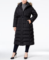 MICHAEL Michael Kors Size Hooded Faux-Fur-Trim Down Belted Maxi Puffer Coat
