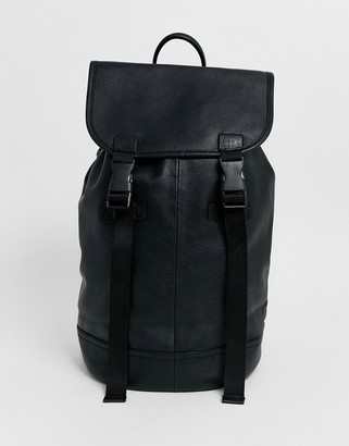 Asos DESIGN leather backpack in black with double straps and matte black buckles