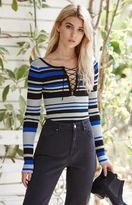 Say What Stripe Lace-Up Sweater