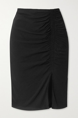 Tom Ford Ruched Stretch-crepe Midi Skirt - Black