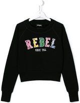 DSQUARED2 rebel embroidered sweatshirt - kids - Cotton - 14 yrs