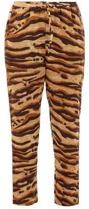 Mes Demoiselles Fatal Zebra-print Drawcord Cotton Trousers - Womens - Brown Print