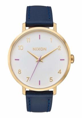 Nixon Women's 'Arrow' Quartz Metal and Leather Watch Color:Blue (Model: A1091151-00)