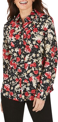 Foxcroft Ava Festive Floral Wrinkle-Free Shirt