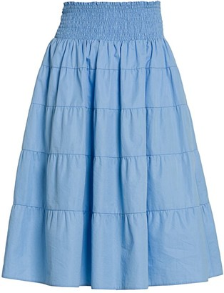 Prada Smocked Waist Tiered Skirt
